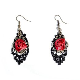 Chinese  Vintage Rose Charm Dangle Earrings Trendy Black Lace Charm Earrings Antique Bronze Eardrop Personality Earrings For Women manufacturers