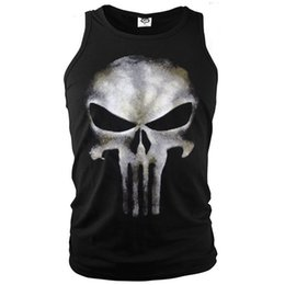 Trajes Casuales Para Hombres Baratos-Anti-héroe The Punisher Sleeveless T-Shirt Hombres Tank Tops Camisetas Sports Ghost Shirt Skull Printed Vest