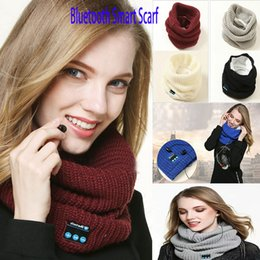 bluetooth smart rings Australia - New Bluetooth Smart Scarf Wireless Bluetooth Scarf Music Knitted Scarf collar Headset Headphone Speaker Mic for phone Headphone WX-S08