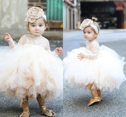$enCountryForm.capitalKeyWord NZ - 2016 New Princess Lace Flower Girls Dresses For Weddings Long Sleeves Ball Gown First Communion Dress Toddler Cupcake Girls Pageant Gowns