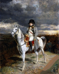 $enCountryForm.capitalKeyWord UK - Framed NAPOLEON BONAPARTE FRENCH ON HIS WHITE HORSE,Pure Handpainted Famous Portrait Art Oil Painting On High Quality Canvas Multi Sizes