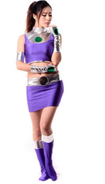 Shiny Cosplay Suit UK - Lycra Spandex Shiny Metallic Sexy Starfire Female Costume Zentai for Women Adult Halloween Party Cosplay Suit