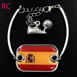$enCountryForm.capitalKeyWord Australia - 21# Fashion Alloy Bracelet World Cup Spain flag bracelet quick sell through the explosion can be customized