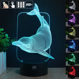 Wholesale- 3D Illusion Dolphin Remote Control LED Desk Table Night Light 7 Color Touch Lamp Kids Children room Theme Decoration by HUI YUAN