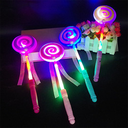 LoLLipop dresses online shopping - Fashion Kids LED Lollipop Glow Sticks Girls Princess Flashing Fairy Wand Sticks Birthday Party Dress Decor