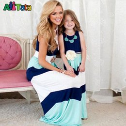 Matching Mother Daughter Outfit Canada - 2016 Summer Style Family Matching Outfits mother daughter dresses Contrast Color blue A-Line Dress Ankle-Length mother & kids