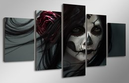 $enCountryForm.capitalKeyWord Australia - 5 Pcs HD Printed Day of the Dead Face Group Painting room decor print poster picture canvas decoration framed paint
