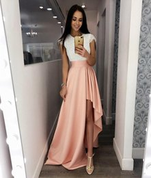 $enCountryForm.capitalKeyWord Australia - White Lace High Low Prom Dresses Short Sleeves Simple Cheap Evening Party Gowns Dress for Garduation