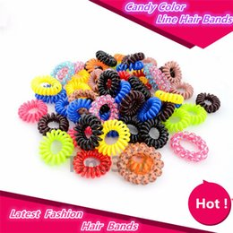 Pony Ties Canada - New Hot Candy Colored Telephone Line Elastic Hair Bands Hair ties Hair ring hair wear Hair Accessories 2133