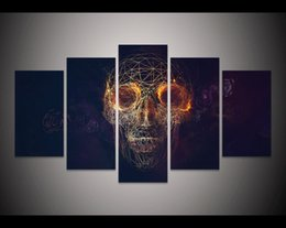 Painting Faces Australia - Wholesale Abstract skull face Painting Halloween Home decor Picture living room wall decor print Halloween Canvas Painting