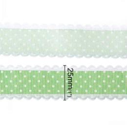 $enCountryForm.capitalKeyWord Canada - Dorabeads Terylene Satin Ribbon Wedding Craft Green Dot Pattern 25.0mm,1 Roll(Approx 20Yards) M66960 ribbon craft ribbon work