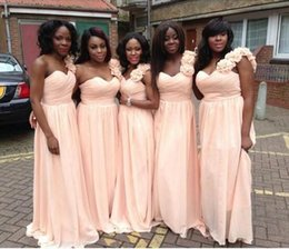 simple chiffon one shoulder wedding dress 2019 - Long Bridesmaid Dresses 2016 Simple Baby Pink Cheap Chiffon Wedding Party Gowns One Shoulder Floor Length With Flowers M