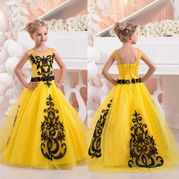 Gold color flowers online shopping - New Yellow Girls Pageant Dresses Jewel Neck Short Cap Sleeves Black Lace Appliques Tulle Floor Length Flower Girl Birthday Party Dress