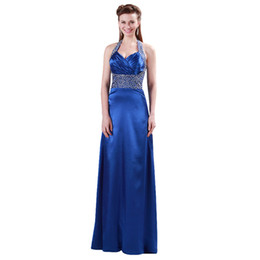 Chinese  Halter Neck Evening Dresses Royal Blue Sain Luxury Beading Dress Robe de Soiree Long Evening Gowns 2019 Formal Prom Dresses Custom Made manufacturers