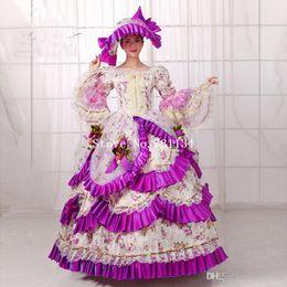 belle costumes for women 2019 - Hot Sale Purple Britain 18th Century Belle Movie Gown Renaissance Medieval Marie Antoinette Party Rococo Dress For Women
