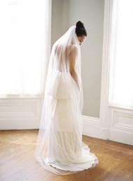 Tulle Head Bridal UK - Top Quality Best Sale For Wedding Dresses Fashion Designer White Ivory ChapelCut Edge Veil Mantilla veil Bridal Head Pieces