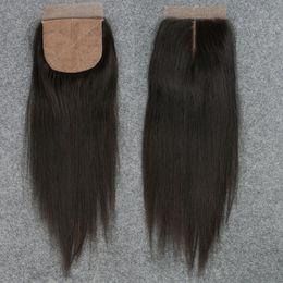 Part Side NZ - Slove Silk Base Closure Straight 7A Brazilian 100% Human Hair Free 2 3 Side Part Cheap Silk Top Closures Bleached Knots