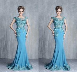Barato Teal Chiffon Dress Lace Cap Sleeve-Tony Chaaya Teal Azul Lace Applique Mermaid Prom Vestidos formais 2018 Cap Sleeve Luxo Detalhe Longo comprimento Fishtail Evening Gowns