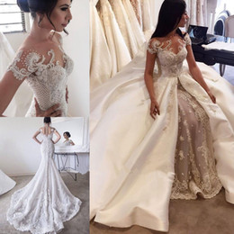 Bridal Satin Mermaid Wedding Dresses Canada - 2017 Luxury Short Sleeves Mermaid Wedding Dresses With Satin Overskirts Sheer Neck Illusion Back Beading Appliques Bridal Gowns Custom Made
