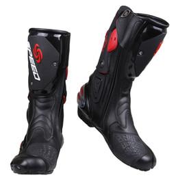 Оптовая про-байкер скорость байкеры мотоцикл сапоги мотогонки мотокросс внедорожные мотоцикл обувь черный / белый / красный размер 40/41/42/43/44/45