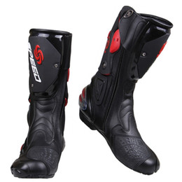 Chinese  Wholesale PRO-BIKER SPEED BIKERS Motorcycle Boots Moto Racing Motocross Off-Road Motorbike Shoes Black White Red Size 40 41 42 43 44 45 manufacturers