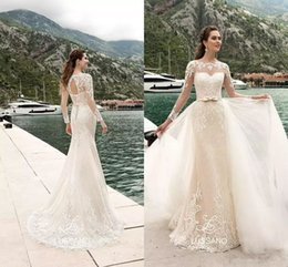 wedding dresses removable sleeve UK - Sexy Mermaid Wedding Dresses with Long Sleeve Summer Garden Spring Open back Lace Bridal Gowns with Removable Skirt Vestidos De Noiva