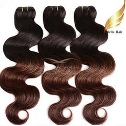Dip Dye brazilian hair online shopping - Ombre Hair Extensions Brazilian Body Wave Wavy Human Hair Weft Queen Hair Products Dip Dye T B Color Ombre Human Hair Bella Hair