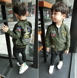 Armée De Dessin Animé Pas Cher-Autumn Boys Jacket Baby Kids Letters Broderie Cartoon Cardigan Coat Enfants Cute Outwears Boy Enfant Vestes Army Green 12192