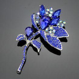 Big Fashion Flowers Brooch Canada - big sapphire blue brooch flower rhinestone crystal platinum pins fashion jewelry 5.5*9cm