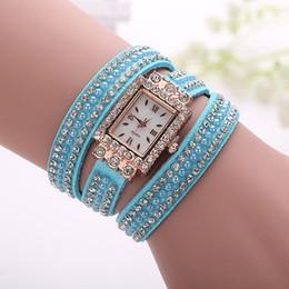 Sets Velvet NZ - Ms fashion new South Korea velvet watch set auger rivet winding bracelet watch Around quartz watch factory direct sale