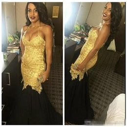 Jupe Slim Pas Cher-2017 Slim Sexy Halter Gold Appliques en dentelle Mermaid Prom Dress New Jupes noires Long Evening Party Robes robe de soire Formal Long