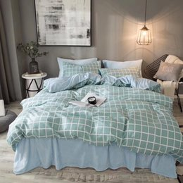 Solid Aqua Bedding Canada - hometextile bed sheet four pieces bedding set queen and king size cotton and flanel together bedding set printing with solid color