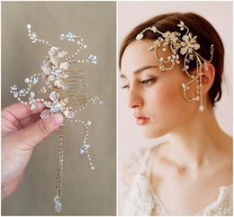 gold bride side hair comb crystals and pearls elegant bridal vintage headwear actual images wedding hair accessories couture designer
