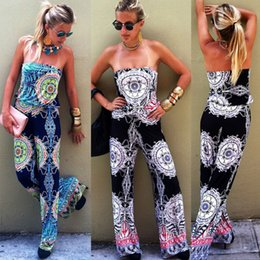 print jumpsuits for women NZ - Europe jumpsuit sexy rompers backless Black jumpsuits for women plus modern_clothes flower print jumpsuit halter Bra blue jumpsuits