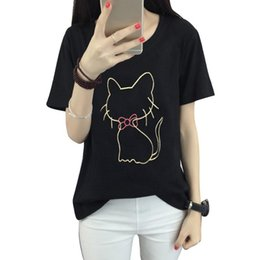 T-shirts Animaux En Gros Pas Cher-Vente en gros - Mode Cat Pattern Kawaii T-shirts 2017 Summer Women T-shirt à manches courtes Girls Sexy Black T-Shirt Harajuku V2