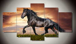 $enCountryForm.capitalKeyWord Canada - 5 Panel Modern Printed Large Horse Painting Picture Animal painting Canvas Wall Art Home Decor For Living Room With Frame F 1144