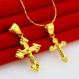 Vietnam Gold Canada - Chikage jewelry gold necklace men female lovers Jesus chain cross of Christ peace in Vietnam gold