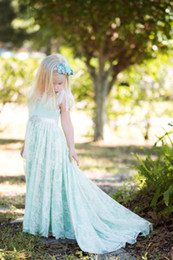 Black Light Overlays NZ - Mint Couture Boho Beach Flower Girl Dress with lace overlay, rhinestones sash and long train, Photo Prop, Peagent