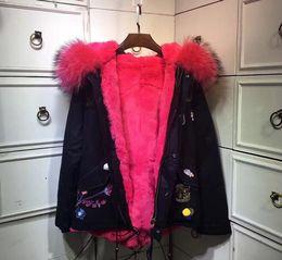 $enCountryForm.capitalKeyWord Canada - furs women jackets Real raccoon fur trim Meifeng brand rose rabbit fur lining black mini parka flower Patch Designs