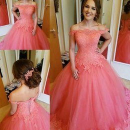 Barato Balões Prom Melancia-2017 Sweety Water Melon Prom Dresses Off Shoulder Lace Appliques Prom Dresses Lace Up Back Tulle Ball Gown Pageant Party Evening Dress
