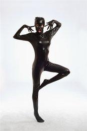 Barato Leotard De Bodysuit Dos Homens-New Arrival Men Women Sexy Cat Cosplay Faux Leather Zentai Catsuit Unisex Wetlook Clubwear Bodysuit Hood Fetish Catwoman Leotard