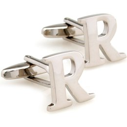 Cufflinks Silver Letters Canada - A Pair French Cufflinks for Mens Cufflinks Initial Personalized Silver Capital Alphabet Letter Cufflinks with gift 930059
