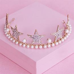 $enCountryForm.capitalKeyWord Canada - Wedding Headpiece Bridal Baby Crown Tiara Pearl Hair Accessories Gold Jewelry Crystal Rhinestone Star Headband Jewelry Princess Headdress