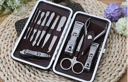Kits Pour Manucure Pédicure Pas Cher-Nail Clipper Kit 12 en 1 set Ensemble de clous Pédicure Scissor Tweezer Knife Manicure Tools