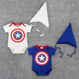 Barato Macaco De Bebê Macaco-Roupas de alta qualidade bebê recém-nascido dos desenhos animados Coverall The New Captain America manga curta Triangle Package Fart Romper Algodão + Hat