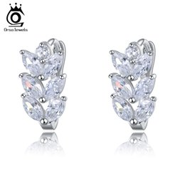 Chinese  ORSA Jewelry Leaf Style Marquise Cut AAA Austrian Clear Zircon Women Fashion Stud Earring Woman Fashion OME03 manufacturers