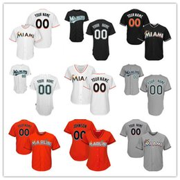 3dbee28cd3e ... Baseball-MLB eBay Custom Mens Womens Youth Florida Marlins Miami Black  Gray White Home Orange Stitched Any Name Number ...
