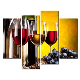 China Amosi Art-4 Pieces Grape Wine With Cup Wall Art Painting The Picture Print On Canvas Food Pictures For Home Decoration Gift(Wooden Framed) cheap painting grapes suppliers