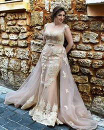Detachable Plus Size Prom Dress Canada - Lace Champagne Prom Dresses Over Skirts with Detachable Train Tulle Illusion Crew Neck Sash 2017 Arabic Women Formal Evening Gowns Plus Size