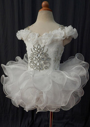 $enCountryForm.capitalKeyWord Australia - White off shoulder lace beaded bow organza hand made flower cupcake little girls pageant dresses kids toddler glitz prom Infant ball gowns